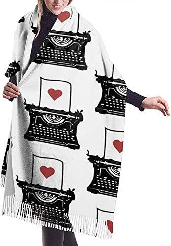 Pen Ink Typewriter Red Heart Variant Zachte kasjmier sjaal Wrap sjaals lange sjaals voor vrouwen Office Party Travel 68X196 cm