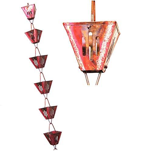 u-nitt 8–1/2Füße reines Kupfer regen Kette: Schlitz quadratisch Tasse 8,5ft Länge # 3121ac