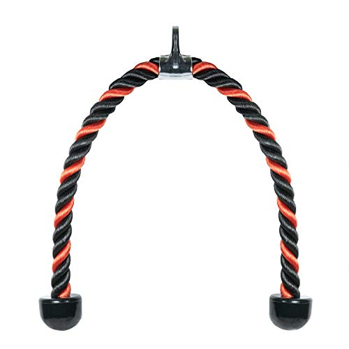 RIGERS Deluxe Tricep Rope Pull Down - 36-inch Rope Length, Easy to Grip & Non Slip Cable Attachment (Red/Black)