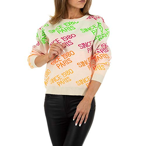 Ital-Design BESTICKTER Pullover Voyelles Creme