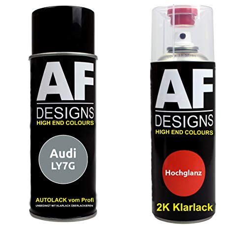 Autolack Spraydose Set für Audi LY7G Quarzgrau Metallic 2K Klarlack Basislack Sprühdose Spraydosen 2x400ml