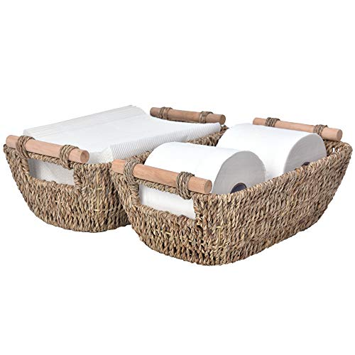 """StorageWorks Hand-Woven Small Wicker Baskets, Seagrass Storage Baskets with Wooden Handles, 12"""" x 7.2"""" x 4.3"""", 2-Pack"""