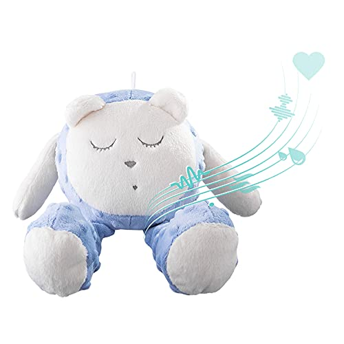 myHummy avec capteur Ourson Snoozy Bleu Blanc Premium | Peluche Bruit Blanc bébé | Machine à Bruit Blanc - Battement Coeur Bruit des Vagues | My hummy avec capteur de Sommeil Peluche endormissement
