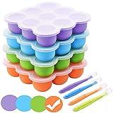 BOCHION Babynahrung Einfrieren Behälter, Silikon Babybrei Aufbewahrung mit Silikondeckel, Gefriertabletts für Babynahrung BPA-frei, von Muttermilch, Kräutern, Saucen, Eiswürfeln, 9 x 75ml - Orange