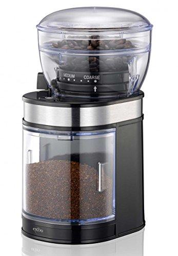 Exido Elektrische Mühle mit Keramik-Mahlwerk, Bohnenbehälter und Motor für Espresso Mocca Kaffee, 150 Watt, 80 Gramm Füllbehälter, 12120007