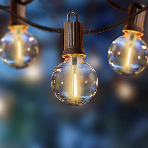 ZOTOYI Lichterkette Glühbirnen Aussen, 15M Outdoor Lichterketten Glühbirnen,25 G40 Birnen 2 Ersatzbirnen IP65 Wasserdicht Warmweiß LED Glühlampen für Innen Deko Draussen, Party, Festival, Hochzeit