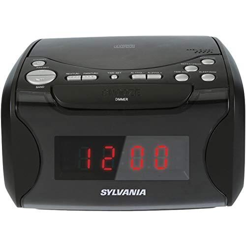 Sylvania Alarm Clock Radio with CD Player and USB Charging (Renewed)