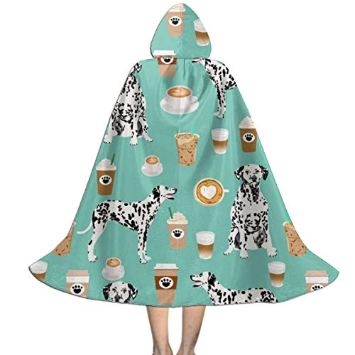 QF9USFEI Dalmatians Cute Mint Coffee Best Dalmatian Dog Print Kids Tunic Hooded Robe Halloween Cosplay Costume Robe Cloak Cape