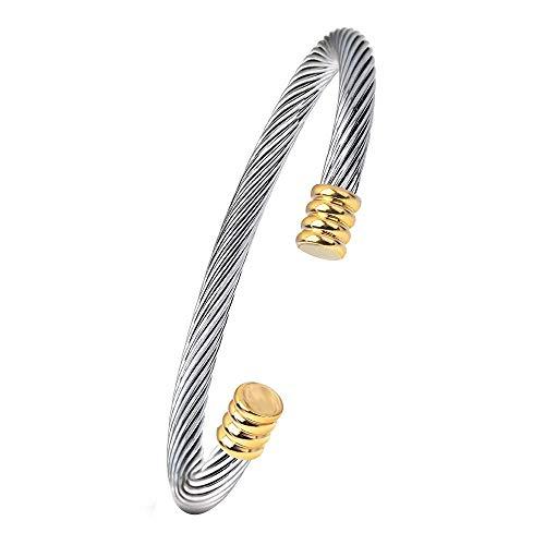 Onefeart Rostfreier Stahl Armreif Frau Kabel Linie Design Einfach Stil Geburtstagsgeschenk 6.6X0.7MM Silber Gold