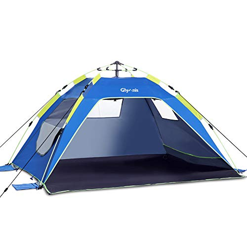 Glymnis Strandmuschel Quick Up Strandzelt Automatisches Strand Zelt mit Reißverschlusstür UV-Schutz 50+ Windschutz kleines Packmaß Strandzelt für 3 bis 4 Personen