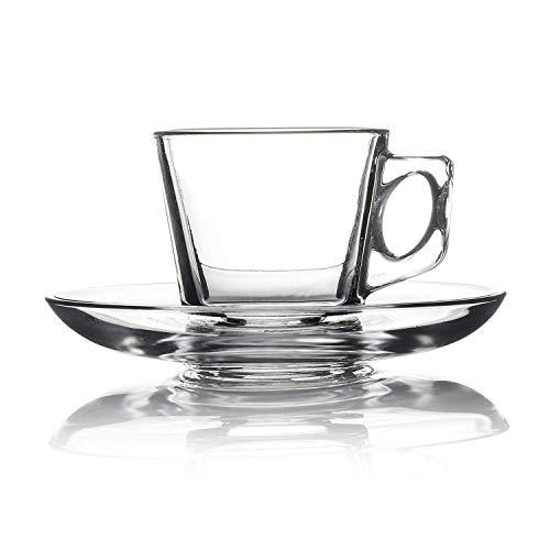 Pasabahce, 12 tlg. Espresso Set Vela, Mini Glastassen, 6 Tassen & 6 Untertassen, formschön und elegant