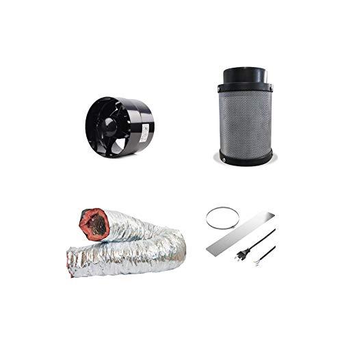 Grow Abluft-Set 125 mm 243 CBM/h Rohrventilator Aktivkohlefilter Growzelt Indoor