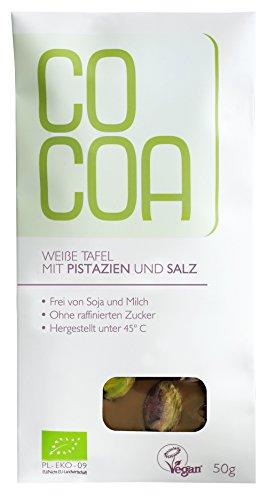 Raw Cocoa Bio Schokoladentafeln 50 g (Weiße Schokolade mit Pistazien & Salz)