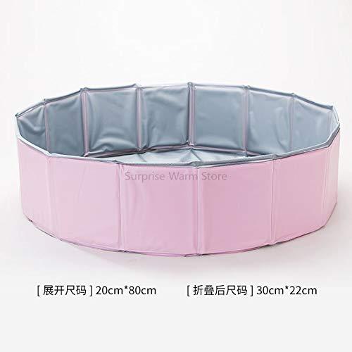 GENETIC Bewegliches Haustier Badewanne Großen Haustier-Produkte PVC-Faltbarer Pool Badewanne für Hund und Katze Teddy 80 * 20cm Rosa
