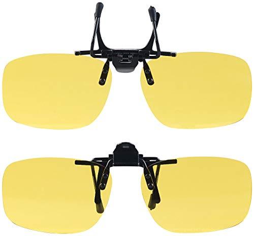 PEARL Nachtsicht Brillenclip: 2er-Set Nachtsicht-Brillenclips, abgerundet, polarisiert, UV400 (Gelbe Brillen)