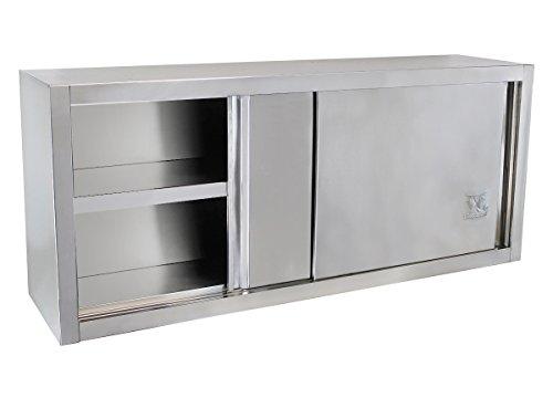 Beeketal \'BWS140\' Gastro Küchen Wandhängeschrank aus Edelstahl mit auf Rollen gelagerte Schiebetüren, Hängeschrank mit fest verbautem Einlegeboden - Außenabmessungen (L/B/H): ca. 1400 x 400 x 650 mm