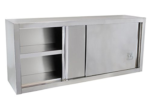 Beeketal 'BWS140' Gastro Küchen Wandhängeschrank aus Edelstahl mit auf Rollen gelagerte Schiebetüren, Hängeschrank mit fest verbautem Einlegeboden - Außenabmessungen (L/B/H): ca. 1400 x 400 x 650 mm