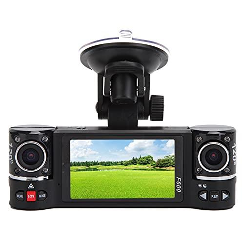 Cámara de salpicadero HD 720P, grabadora de conducción con pantalla de 2,7 pulgadas Grabadora giratoria de vehículo DVR de doble lente para coche con luz de visión nocturna LED, admite grabación duran