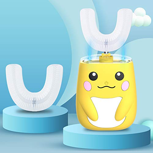 Kids Automatic Ultrasonic Toothbrush- an Ergonomic U-Shaped Toothbrush with six Modes for 360° Sensitive Oral Tooth Cleaning(Yellow,2-7 Years Old))