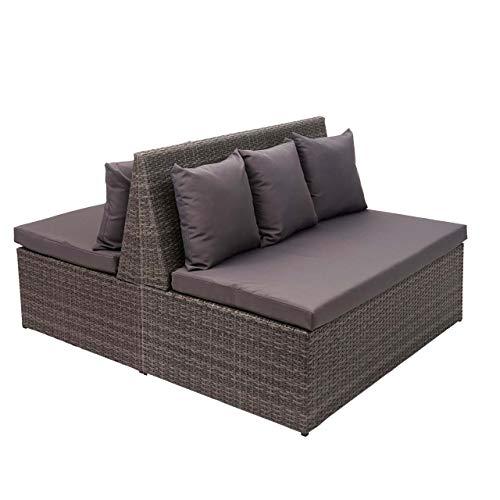 Mendler 2X Poly-Rattan 2er Sofa HWC-G16, Lounge-Gartenbank Sitzbank Sessel, Gastronomie 120cm - grau, Kissen dunkelgrau