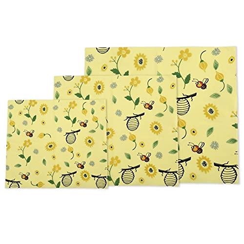 Reutilizable Beewax Food Wrap - Paño de conservación de Alimentos - Eco Friendly Bowl Cover Futbol Fruit Vegetal Preservación Paño 3 Paquete Sostenible Cero Residuos, Alternativa Libre de Plástico