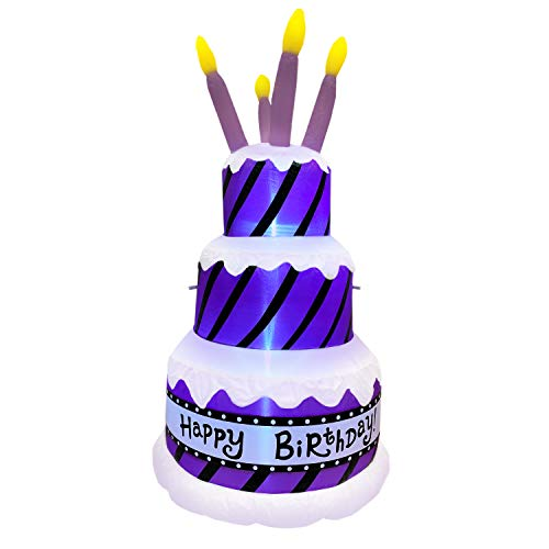 Jumbo Inflatable Happy Birthday Cake with Candles | Extra Large Birthday Party Decoration Lights Up and Inflates in Moments | For Indoors or Outdoors (Tie Down and Stakes Included for Outdoor Use)