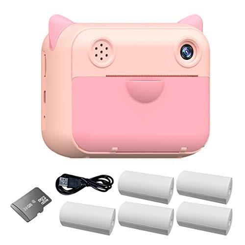 TCM-KE Polaroid - Cámara de impresión instantánea para niños con 5 rollos de papel de impresión, lente de doble cámara para niñas y niños, InstantFun