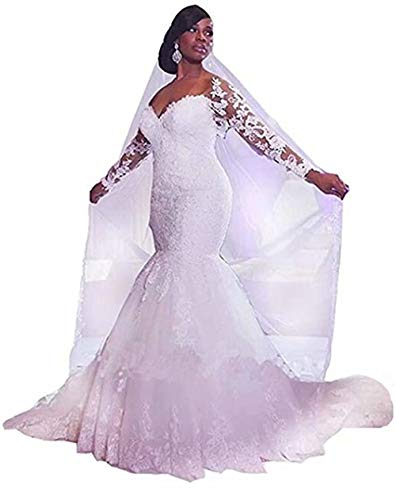 Off The Shoulder Wedding Dresses for Bride Long Sleeves Lace Mermaid Beaded Wedding Bridal Gowns Ivory