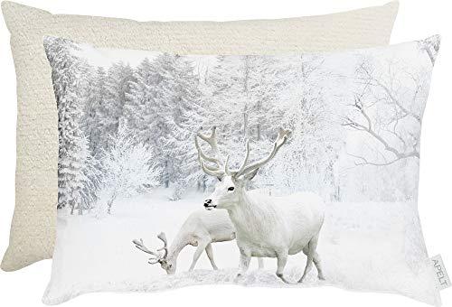 APELT Kissen, gefüllt Winterwelt Hirsche Größe 35x45 cm