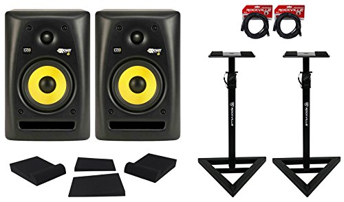 Review 2 KRK RP6G2 6 Active Studio Monitor +Pair of Stands+Sound Isolation Foam+Cables