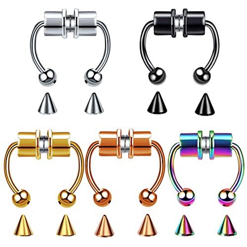 Anillo magnético para nariz de tabique de acero inoxidable, anillo de nariz falso, anillo de tabique sintético, no perforante, para mujeres y hombres