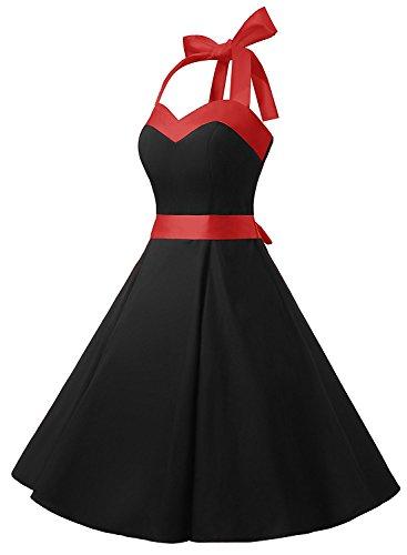 Neckholder Kleid Schwarz im Rockabilly 50er Jahre Vintage Stil - 3