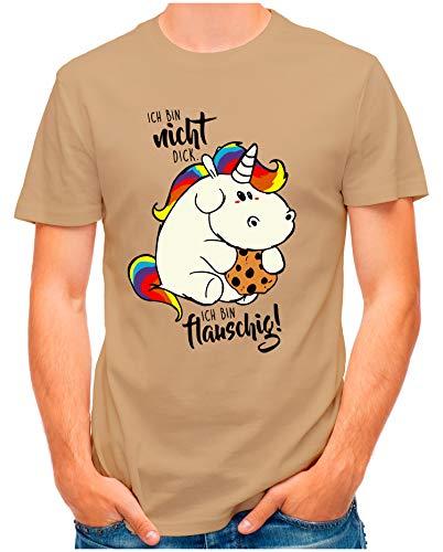 OM3® - Ich-bin-nicht-Dick - T-Shirt | Herren | Ich Bin flauschig Fettes Einhorn Parodie Printshirt | Khaki, 3XL
