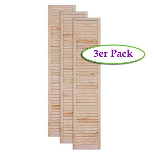 Lamellentür Holztür natur 1980 x 394 x 21 mm mit geschlossenen Lamellen für Regale, Schränke, Möbel | Kiefer Holz unbehandelt | Dreier Paket 3-er Pack
