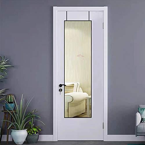 AUFHELLEN Wandspiegel mit Schwarz Metallrahmen 120x30cm Groß Spiegel HD Ganzkörperspiegel mit Haken für Flur, Tür, Wohn-, Schlaf- oder Ankleidezimmer