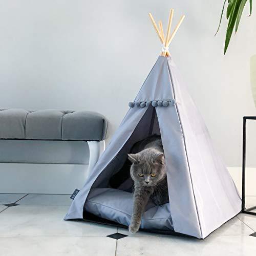 Tente pour chat et chien Glamour Lit tipi noir et blanc Lit luxe pour chat et chien (M, gris, gris)