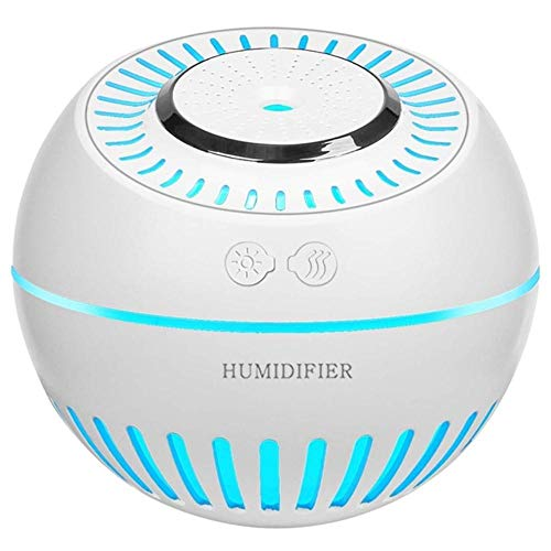 Haochide Multifunctionele luchtbevochtiger Mist Cool Baby-luchtbevochtiger, 380 ml mini-luchtbevochtiger met 7 kleurwisselende ledlampen, waterloos, automatische uitschakeling, fluisterstil
