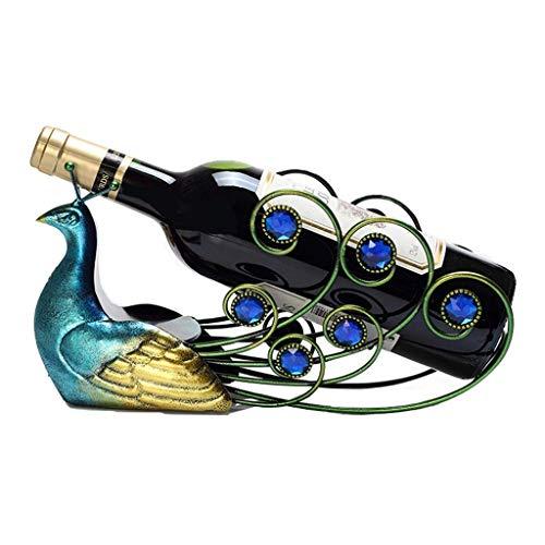 LXLH Wine Rack Hollow Blue Peacock Wine Rack Un Regalo para los Amantes del Vino Moda Decoraciones para Habitaciones de Escritorio Accesorios de Cocina Estante de Vino de 6.6 Pulgadas de Alto