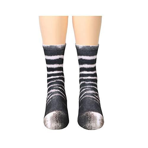 1 Paar kreative 3D-Print-tierpaw Muster Socken, jungen und Mädchen, lustige Baumwoll-Crew Socken, Zebras.