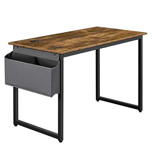 Yaheetech Mesa de Ordenador 120 x 60 x 75 cm Rústico con Gancho Bolso Madera Metal Escritorio Metálico Industrial Mesa de Estudio para Oficina Despacho