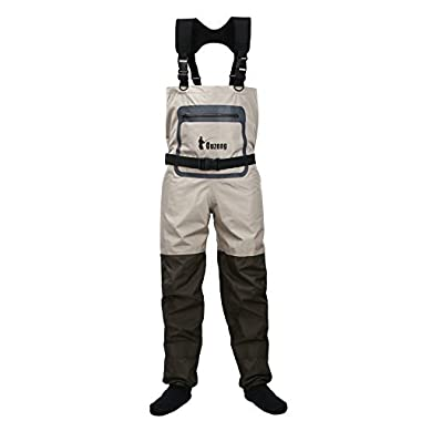 Ouzong Durable and Comfortble Breathable Stocking Foot Chest Wader for men and women (Large)