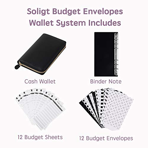 Soligt All-in-One Cash Envelopes Wallet with 12 Budget Envelopes & Budget Sheets - Black
