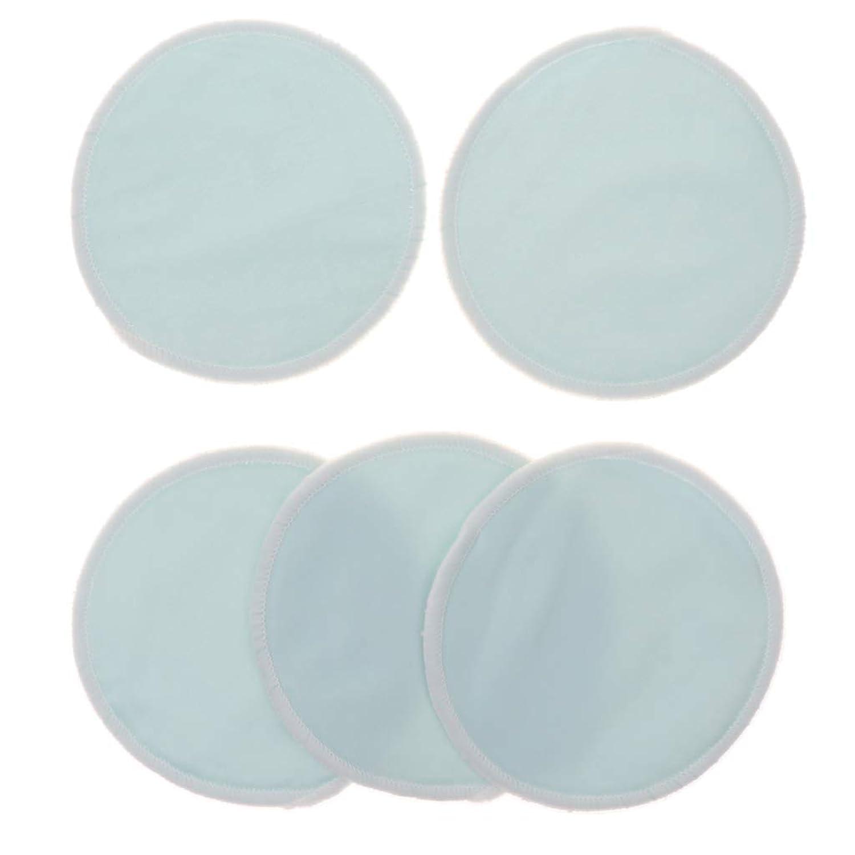お手入れ中央値前Fenteer 5個 クレンジングシート 胸パッド 化粧用 竹繊維 円形 12cm 洗える 再使用可能 耐久性 全5色 - 青