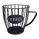 Moseng - Porta cialde da caffè a forma di tazza, multiuso, con base in ferro, per casa, caffè, frutta, snack (nero)