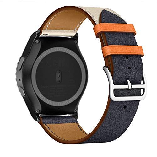 MroTech 20mm Lederarmband Ersatz für Galaxy Watch 42mm Armband Leder Blau Uhrenarmband kompatibel für Samsung Galaxy Active/Active2 40mm/44mm Ersatzarmband 20 mm Quickfit Band, Indigo/Craie/Orange