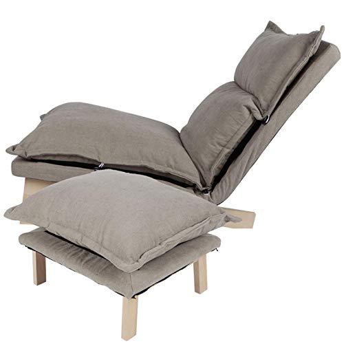 Dioche Lazy Couch Recliner,Wohnzimmer Relaxsessel Liegesessel mit Fußstütze, Verstellbarer Rückenlehne Buchenholz Bodenstuhl für das Büro zu Hause (Grau)