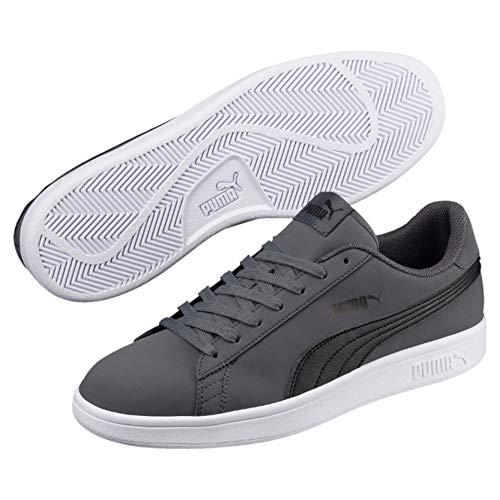 Puma - Sneakers Smash V2 Buck Grigio/Nero Scarpe Basse Uomo Tennis - 41, Grigio-Nero