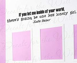 Justin Bieber One Less Lonely Girl Room Kid Lyrics Canción - Adhesivo decorativo para pared (tamaño grande), diseño de texto en inglés