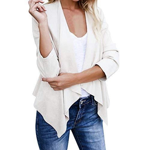 BHYDRY Frauen Langarm Leder Open Front Short Cardigan Anzug Jacke Arbeit Büro Mantel(EU-48/CN-2XL,Wei?)