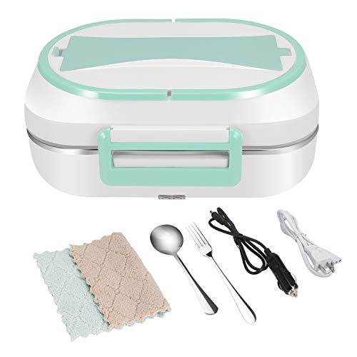 HAIFORD Electric Lunch Box Food Heater Portable Food Warmer Bento Box with Removable 304 Stainless Steel Container - Food Grade Material, Car and Home Dual Use (Green)